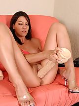 dildo king, Lexi stuffs her snatch with a giant brutal dildo