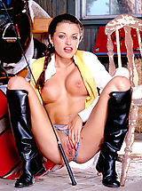 Fresh from the excitement of having a giant beast between her legs, young equestrian Tylor Perry satisfies her own animal urges.
