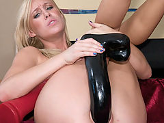 Allison fucks long black dildo