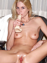 Naughty Nurse Filled Up by Thick Dildo