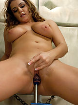 Big tits, tiny waist and the ability to swallow dildos with her Pussy. Natasha Nice fucks The ShockSpot & Dragon just as hard as the machine fuck her.