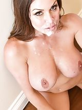 Manuel Ferrara, Kendra Lust Sinful Slut shows her bare breasts, pulls down her knickers and opens her thighs and diddles her tight-fitting twat
